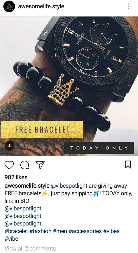 free plus shipping offer example bracelet