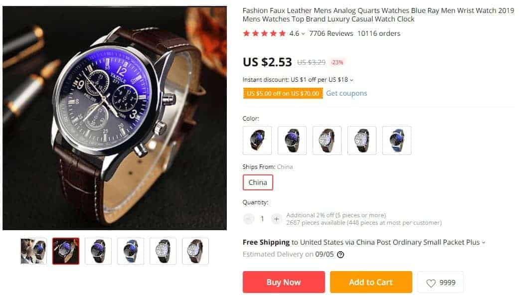 free plus shipping offer example watch aliexpress