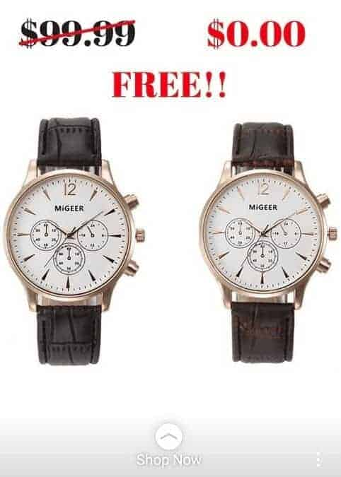 free plus shipping offer example watches in instagram story