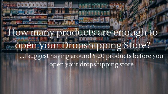 How many products are enough before it's wise to open your dropshipping store? I suggest between 5-20 products