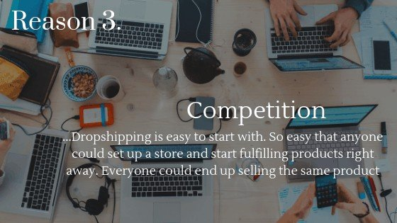 Lower Dropshipping Profits reason 3: Competition could mean you need to sell your product for a lower price then your competition