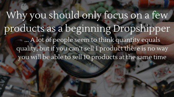 You should only focus on a few products as a beginning dropshipper, because you need to learn a lot