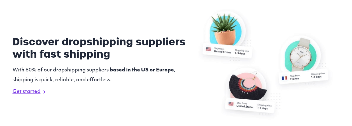 80% of suppliers are based in the US or Europe with Spocket