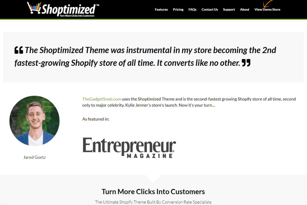 The best Shopify dropshipping themes: Shoptimized