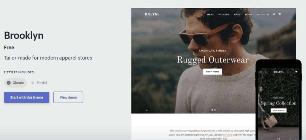 The best free Shopify theme for Dropshipping stores: Brooklyn