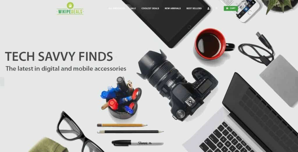 Shopify dropshipping homepage example: Wikipedeals