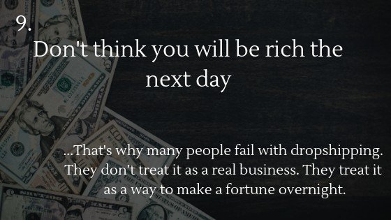 Don't think you will be rich the next day