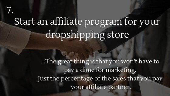 Free traffic dropshipping store option 7: Affiliate program