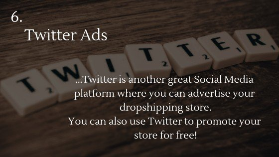 Advertise Dropshipping Store: Twitter Ads