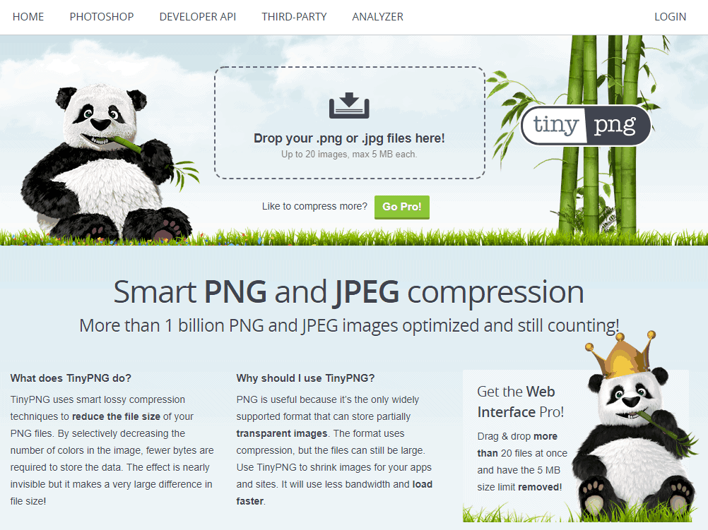 Online image compression: TinyPNG