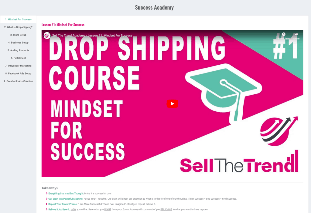 Free Dropshipping Course is included in the product research tool Sell The Trend
