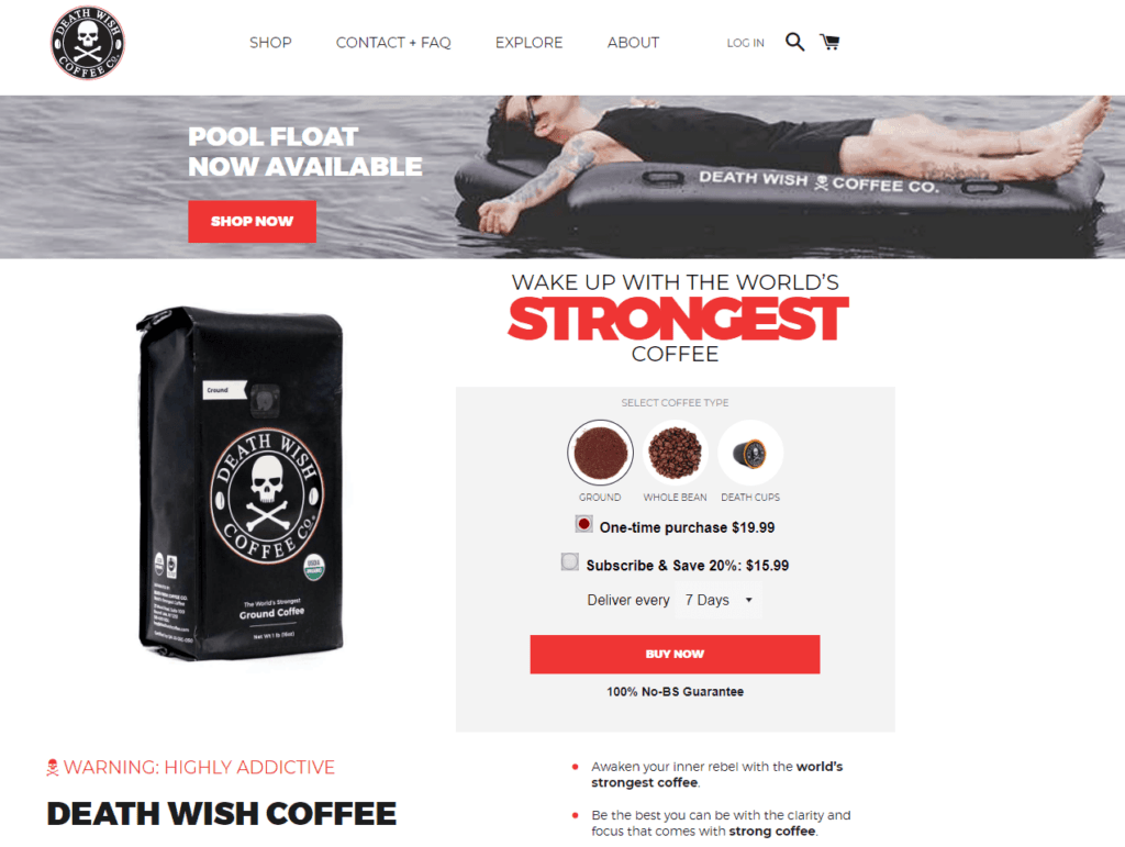 Shopify homepage example: Death Wish Coffee