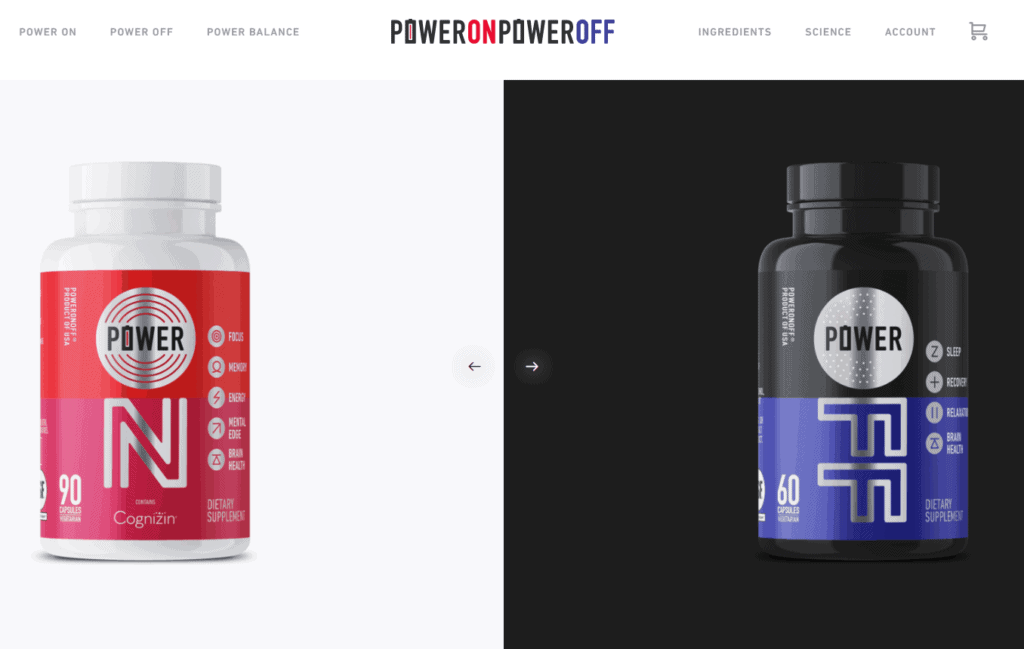 Shopify homepage example: Power On Power Off