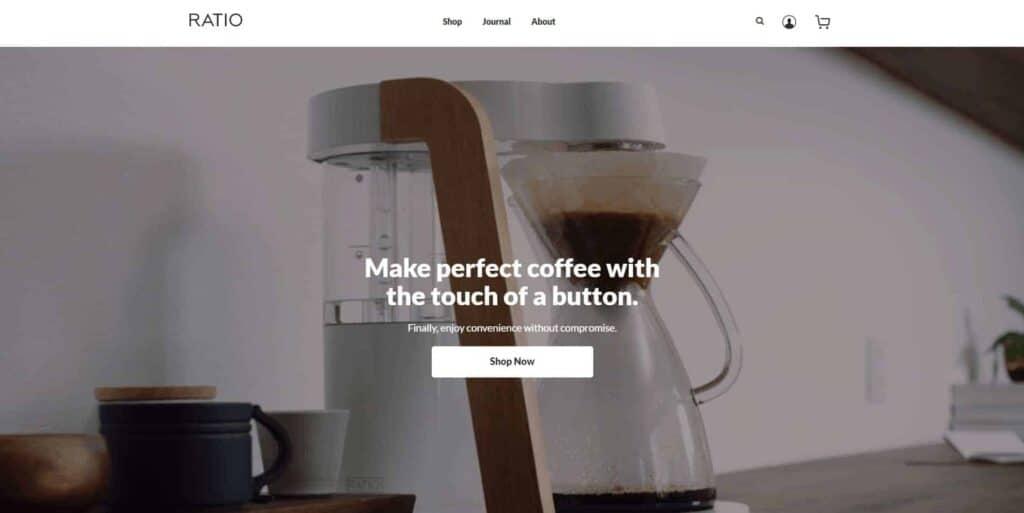 Shopify homepage example: Ratio Coffee