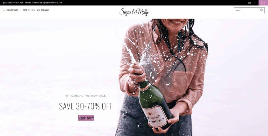 Shopify dropshipping homepage example: Sugar and Molly