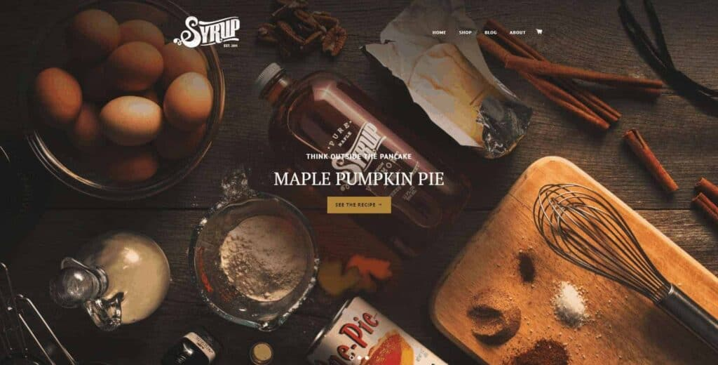 Shopify homepage example: The Syrup Shop