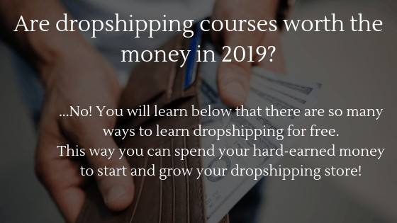 Are dropshipping courses worth the money in 2019? No! You will learn below that there are many ways to learn dropshipping for free.