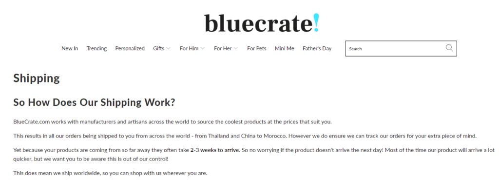 Example of a Shipping Policy on Bluecrate