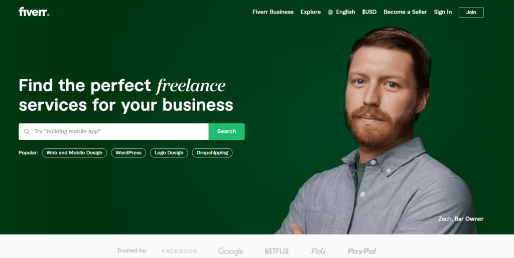 Homepage from Fiverr