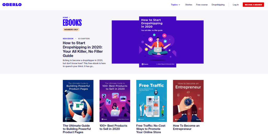 Free Dropshipping Course: Oberlo Ebooks