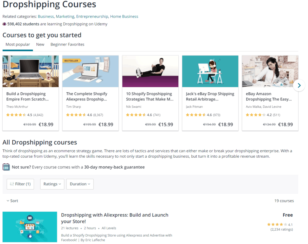 Free Dropshipping Course: Udemy Dropshipping Courses