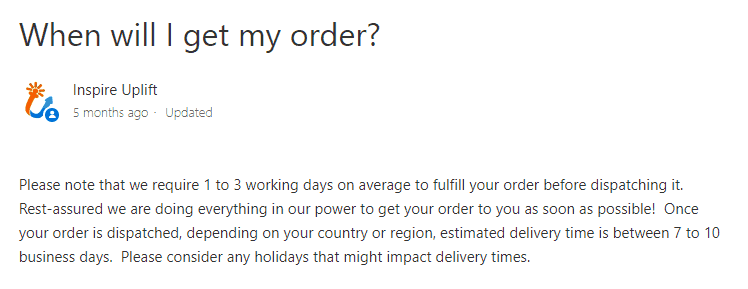 How to see if an online store is Dropshipping: Check their shipping time