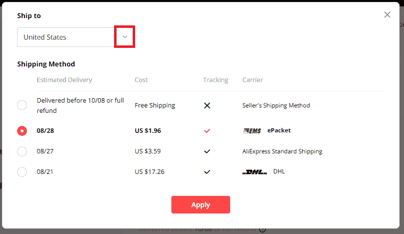 How to find the best AliExpress suppliers for your dropshipping store. Step 4: Check the shipping time