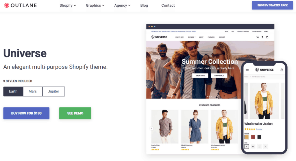 The best Shopify dropshipping themes: Universe Theme