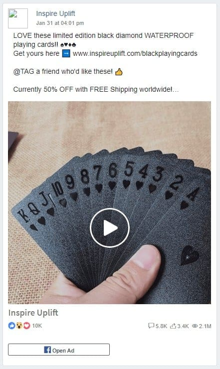 Dropshipping Facebook Ad Example eight: Inspire Uplift