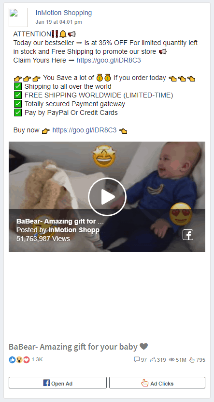 Dropshipping Facebook Ad Example one: InMotion Shopping