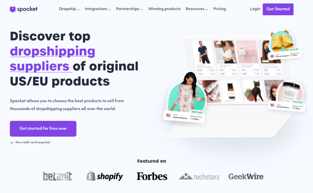 Spocket homepage high-ticket dropshipping supplier