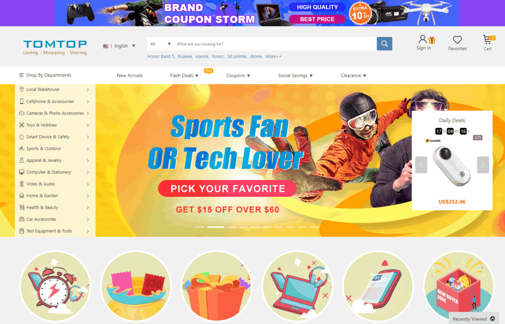Homepage of Tomtop