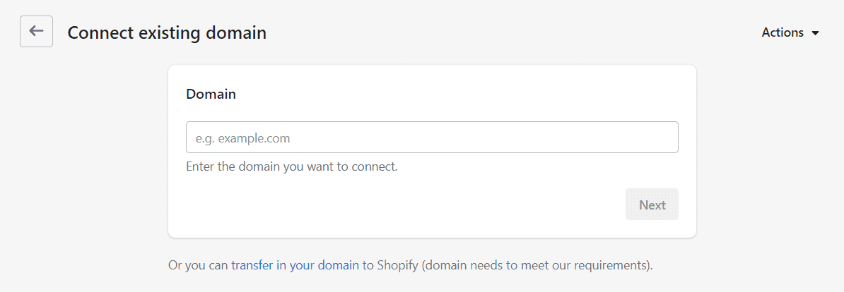 Connecting an existing domain