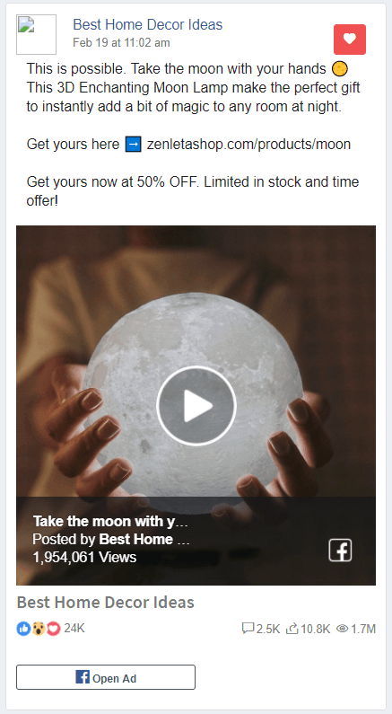 Moon Lamp Facebook Ad example
