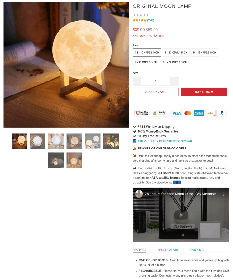 Moon Lamp dropshipping product page example