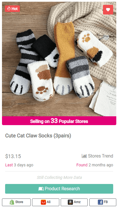 Winning Dropshipping Product Example: Cat Claw Socks