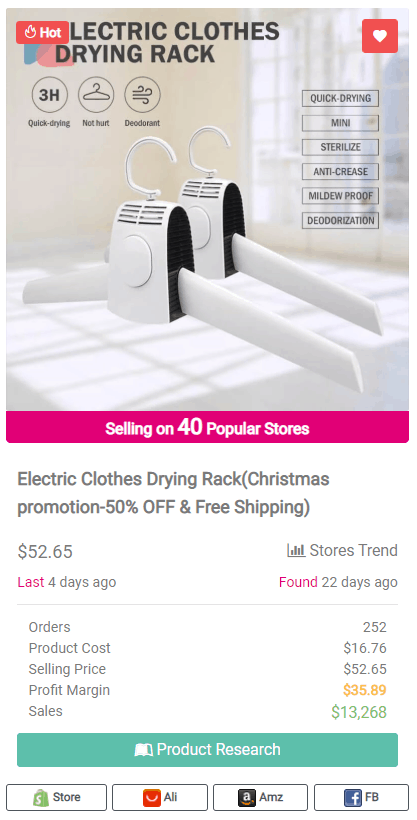 Winning Dropshipping Product Example: Electric Clothes Drying Rack