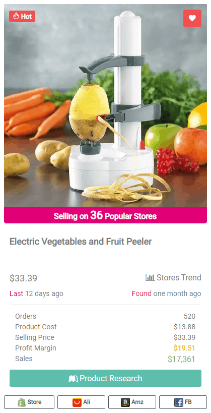 Winning Dropshipping Product Example: Electric Vegetables and Fruit Peeler