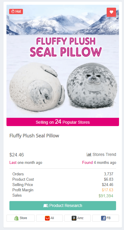 Winning Dropshipping Product Example: Fluffy Plush Seal Pillow