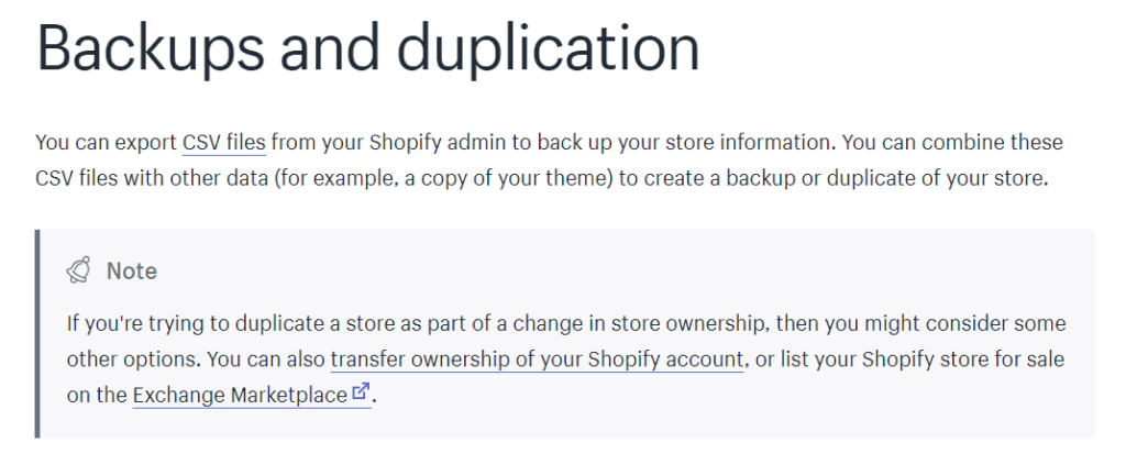 How to backup your Shopify store