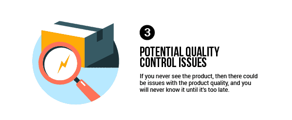 There could be issues with the product quality, and you will never know it until it's too late.