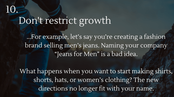 Choosing the Perfect Name for Your Dropshipping Store Tip 10: Don't restrict growth