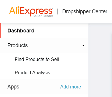 What is the AliExpress dropshipping center? Screenshot of the dashboard
