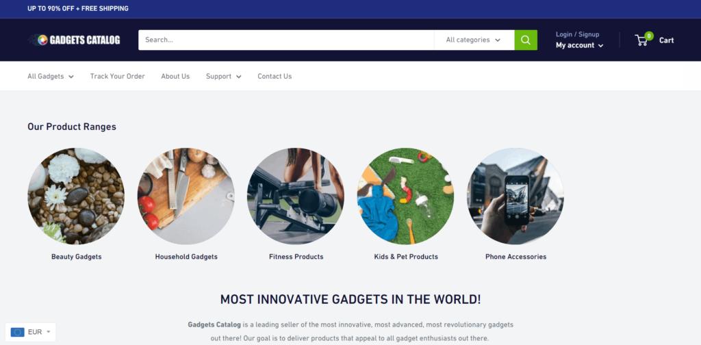 AliExpress Dropshipping Store Examples: 2. Gadgets Catalog