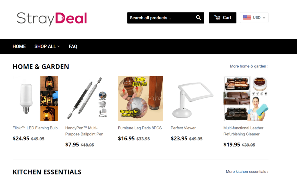 AliExpress Dropshipping Store Examples: 3. StrayDeal