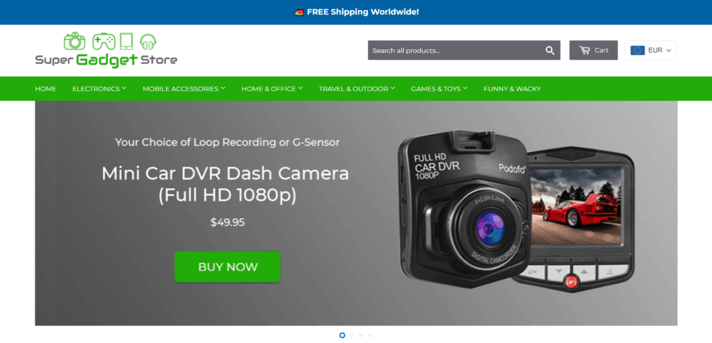AliExpress Dropshipping Store Examples: 1. Super Gadget Store