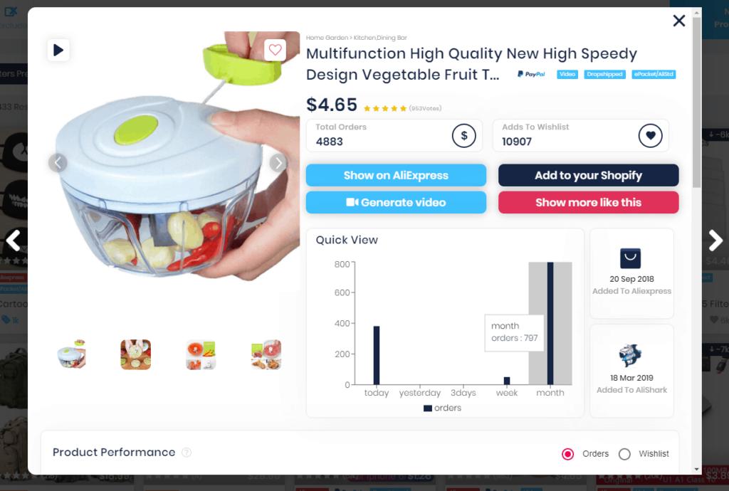 AliShark Review: Screenshot of product data