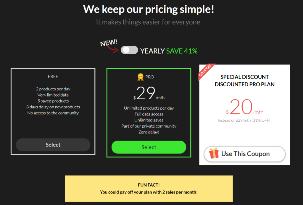 Ecomhunt Review: Monthly pricing Ecomhunt