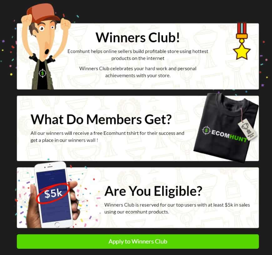Ecomhunt Review: Winners Club