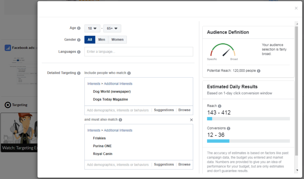 Ecomhunt Review: Facebook Ad targeting example